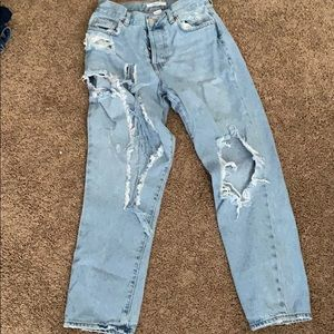 Highly distressed mom jeans